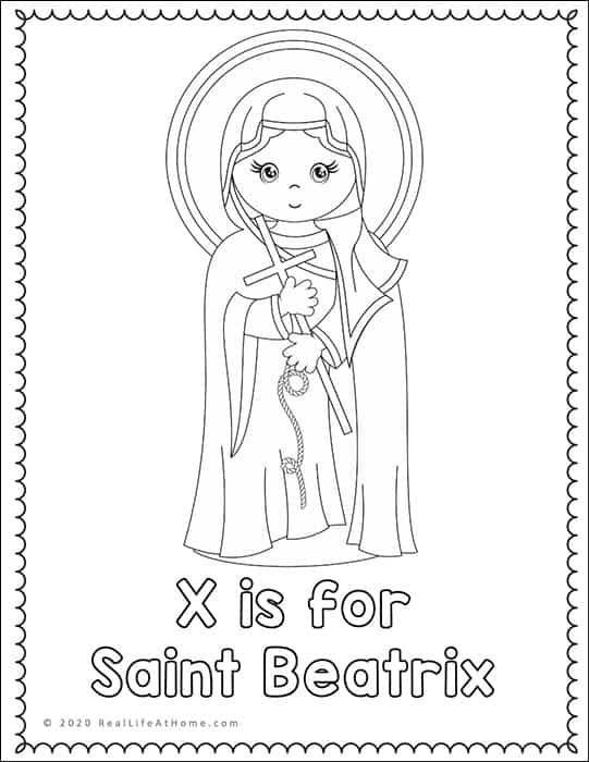 Saint Beatrix Coloring Page