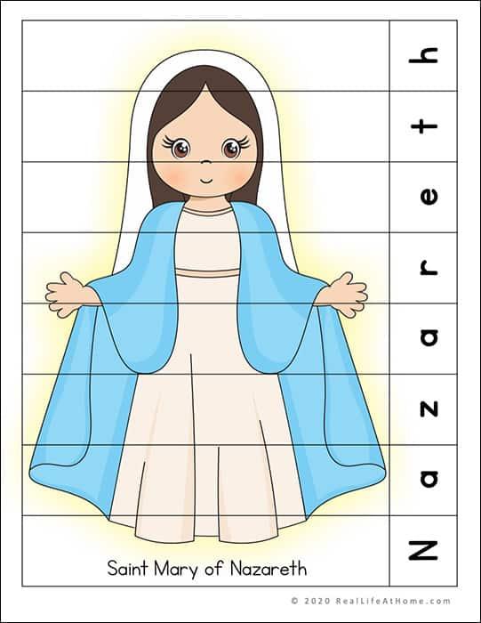 Saint Mary of Nazareth Puzzle Page Printable