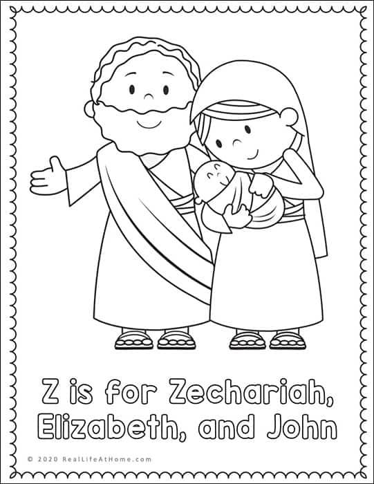 Zechariah, Elizabeth, and John Coloring Page