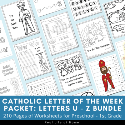 Catholic Letter of the Week Packets: Letters U - Z Bundle