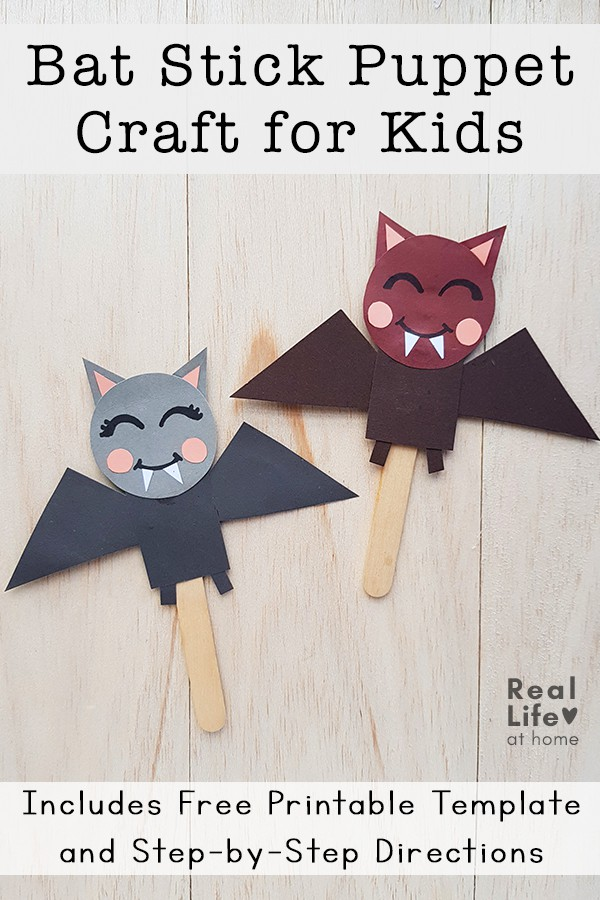 Bat Craft for Kids - Bat Stick Puppets