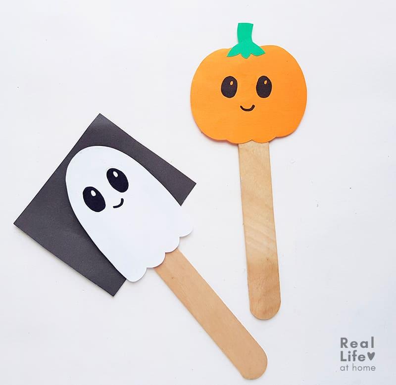Ghost and Pumpkin Stick Puppet Craft