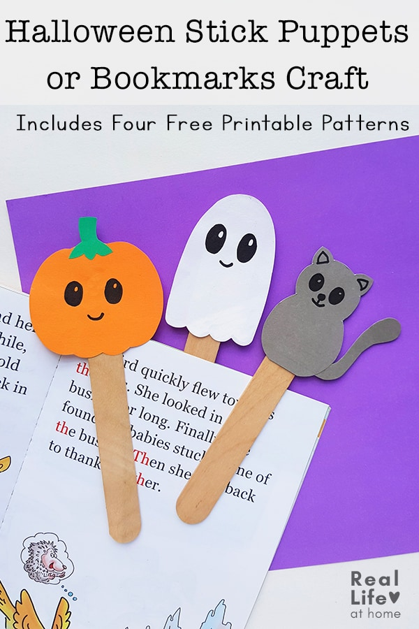 Halloween Stick Puppets or Bookmarks Craft