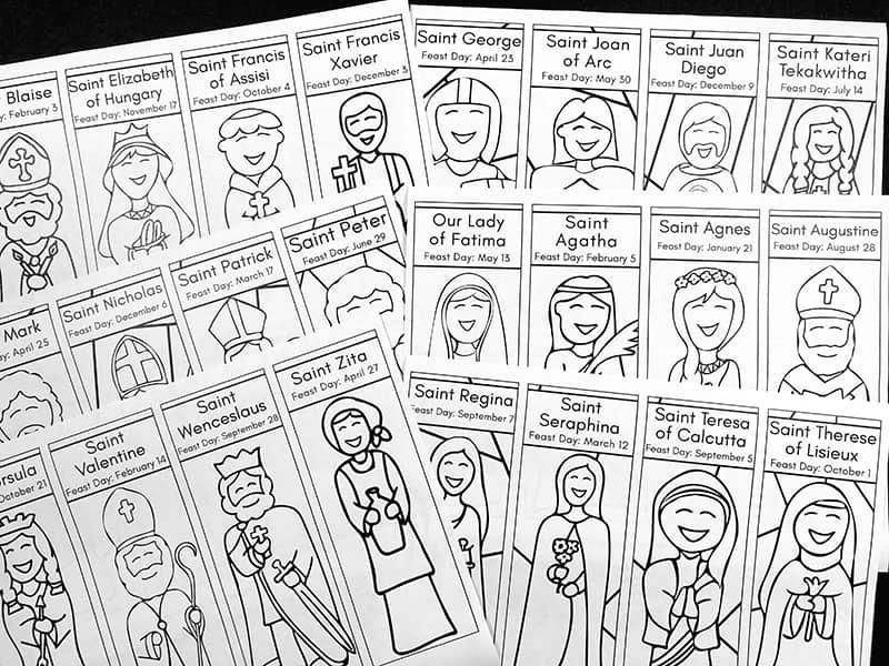 Printable Catholic Saints Bookmarks