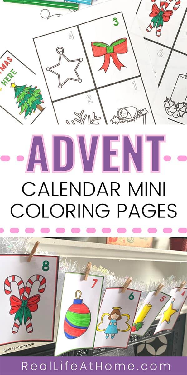 Advent Calendar Mini Coloring Pages Set