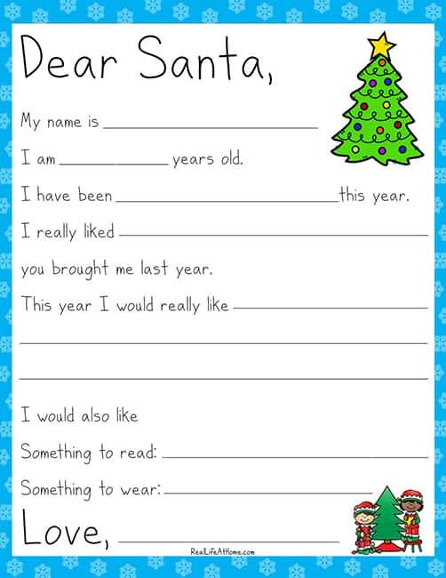 Letter to Santa Printable for Kids