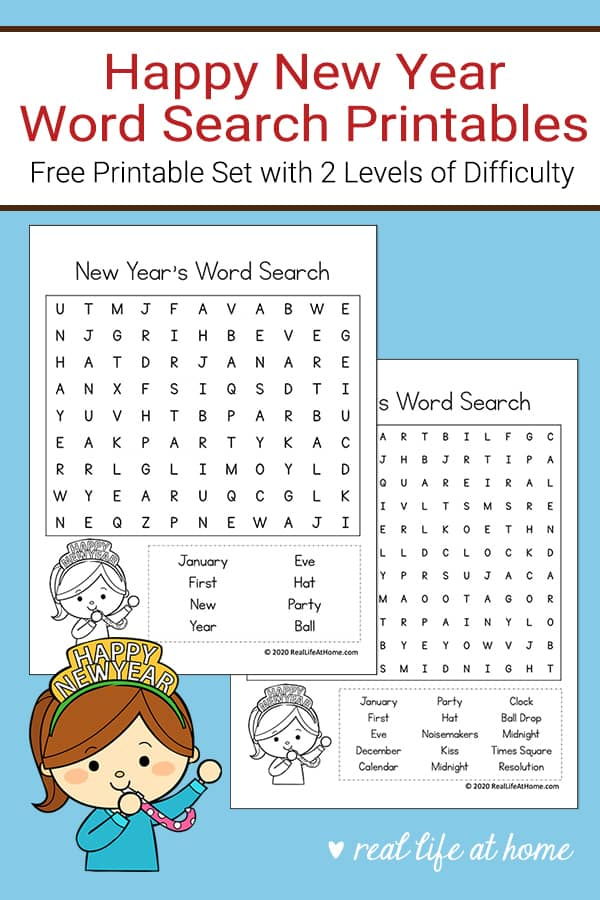 Free New Year's Word Search Printable for Kids