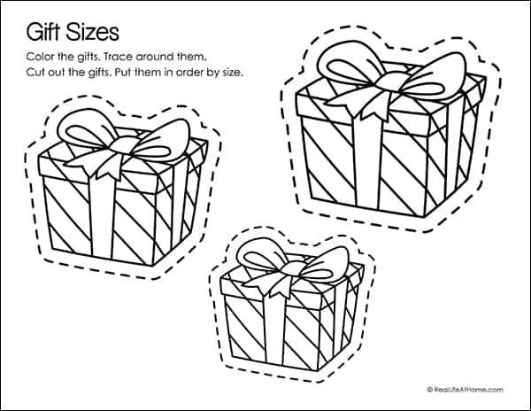 Gift Sizes Fine Motor Skills Practice Sheet