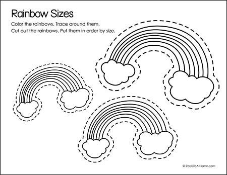 Rainbow Sizes Printable Page