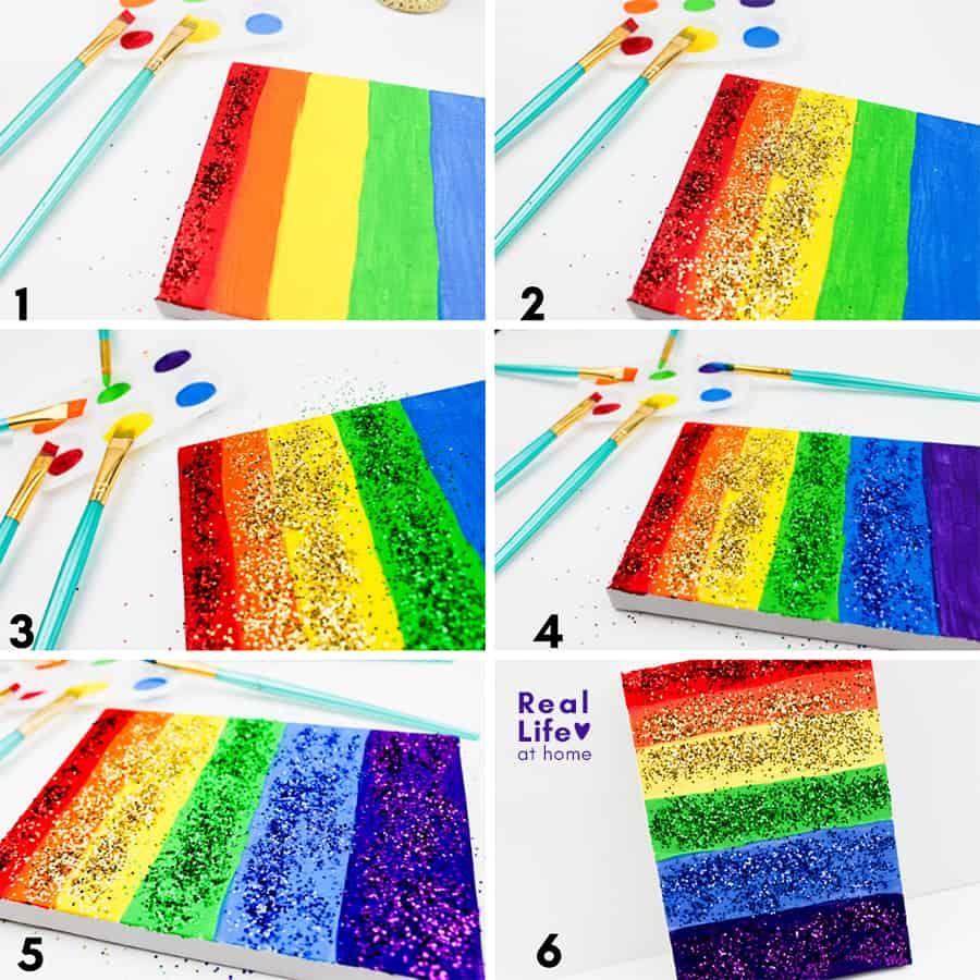Glittery Rainbow Art Project (step 2)