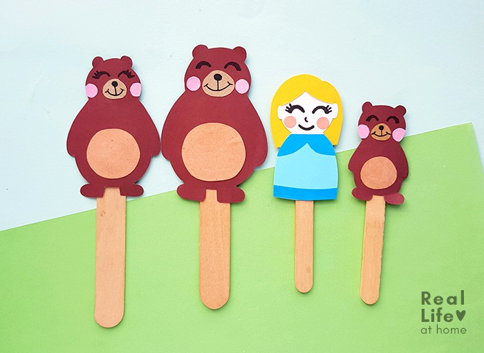 Goldilocks and the Three Bears Craft Stick Puppets