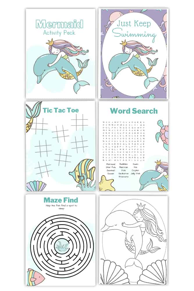 Mermaid printables packet