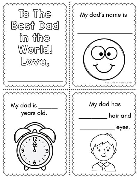 Sample Page from Father's Day Mini Book
