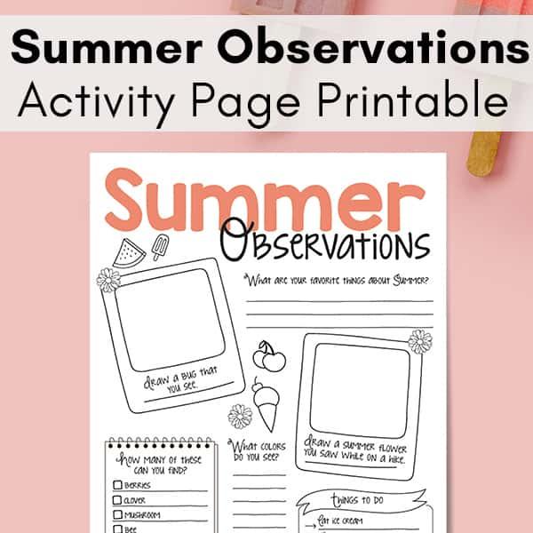 Summer Nature Study Printable