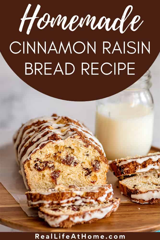 Homemade Cinnamon Raisin Bread with Brown Sugar Crumble Topping and a Sweet Glaze Drizzle