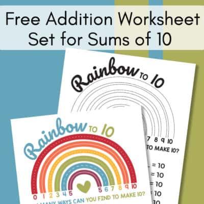 Free Addition Worksheet Set for Sums of 10