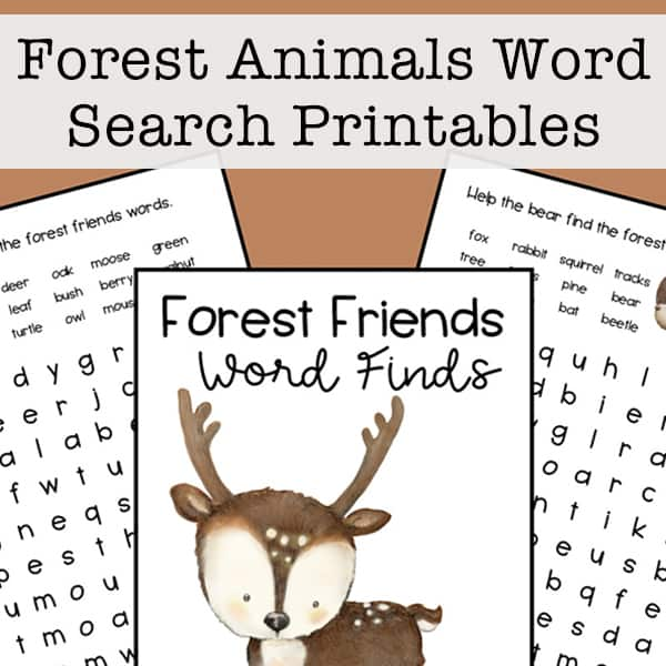 Forest Animals Word Search Printable Set