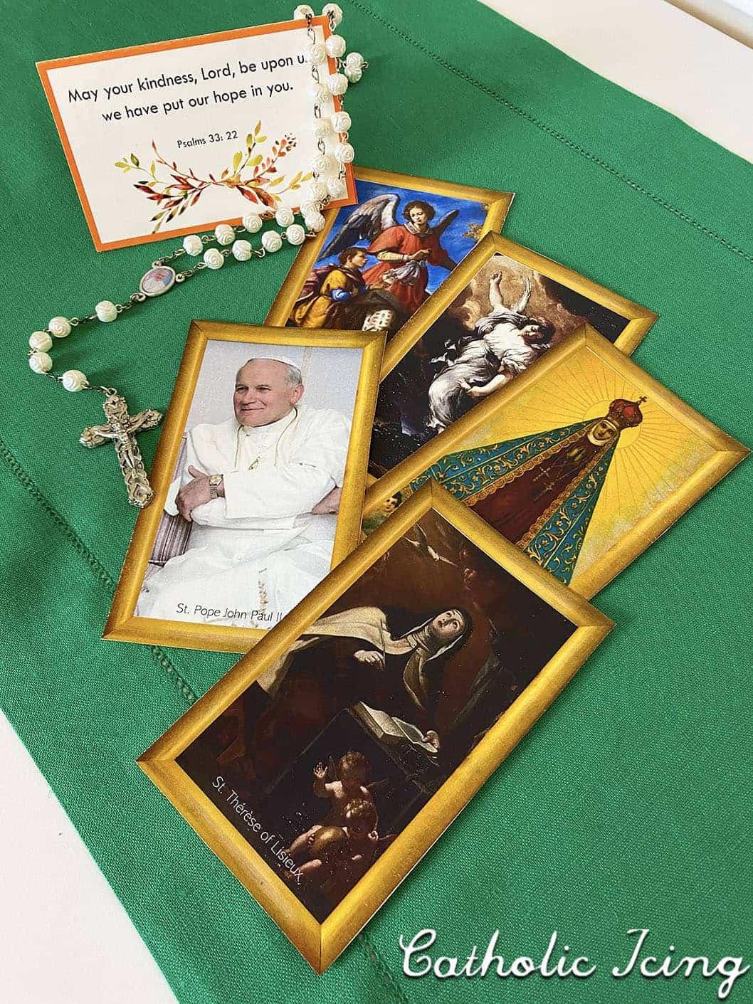 Printable Scripture Memory Card and Saint Cards